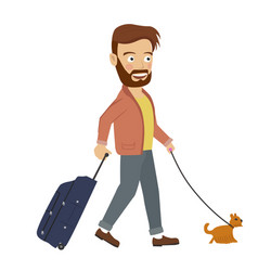 hipster man walking with suitcase and dog vector image