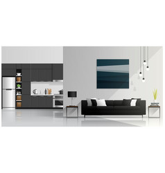 interior design with living room and kitchen vector image