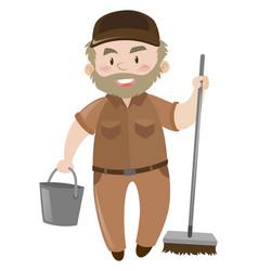 Janitor in brown uniform vector
