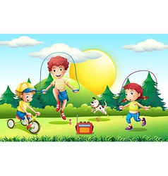 Kids jumping rope in the park vector image
