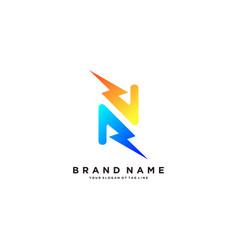Letter n flash electrical logo design vector