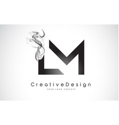 Lm letter logo design with black smoke vector