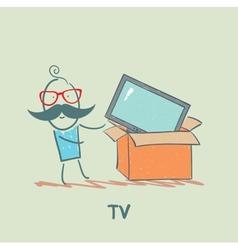 man bought a TV vector image