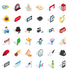 manners icons set isometric style vector image