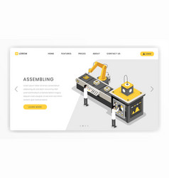 Manufacturing constructing process landing page vector