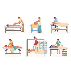 Massage therapy composition set flat vector