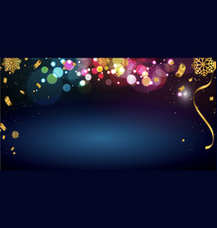 merry christmas banner text and new year bokeh vector image