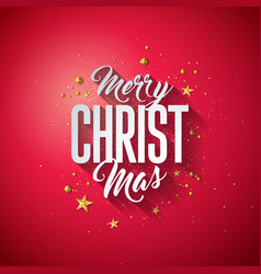 merry christmas typography with 3d vector image