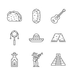 mexican linear icons set cinco de mayo festival vector image