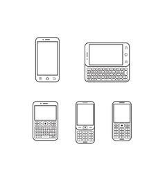 mobile phone set Touchscreen and slider vector image