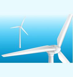 Modern wind turbine on tower 3d realistic vector