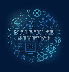 Molecular genetics blue circular outline vector