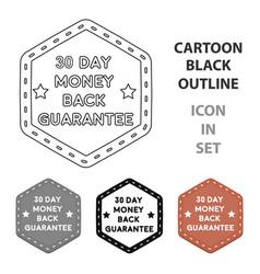 money back guarantee icon in cartoon style vector image