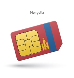 Mongolia mobile phone sim card with flag vector