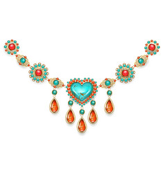 Necklace with turquoise heart vector