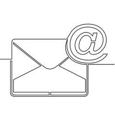 One continuous line drawing of email icon concept vector