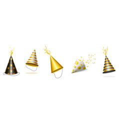party hats with gold and black stripes and ribbons vector image