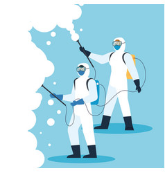 People with protective suit or spraying viruses of vector