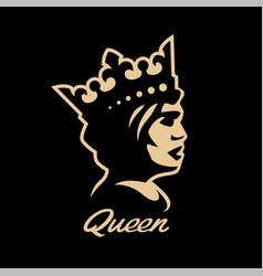 queen symbol logo black white style vector image