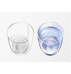 Realistic empty glass with water cup set vector