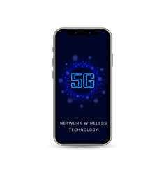 realistic smartphone with 5g wireless internet vector image