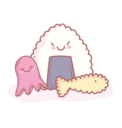 Rice octopus and tempura fish cartoon food cute vector