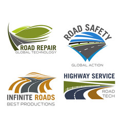 Road lane or highway icons set vector