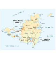 Road map of sint marteen-sint maarten vector