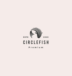 round circle fish logo hipster retro vintage icon vector image