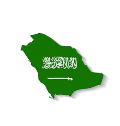 Saudi Arabia map with shadow effect vector