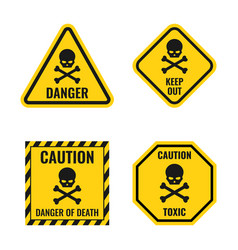 scull danger sign set hazard warning icons vector image