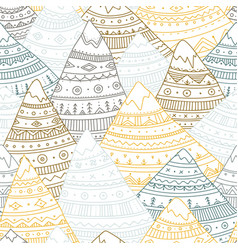 seamless pattern with boho ornamental mountains vector image