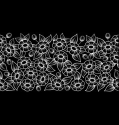 Seamless white outline full floral brush vector