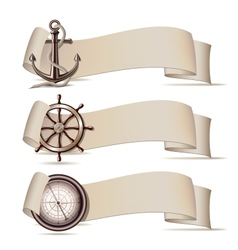 set banners with marine icons vector image