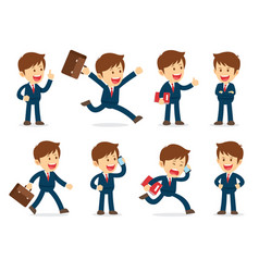 set businessman working character design flat vector image