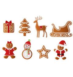 set christmas gingerbreads vector image