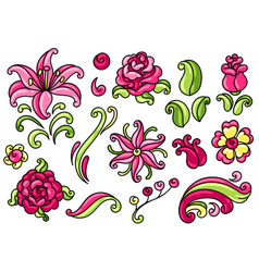 set decorative roses and lilies vector image