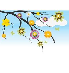 Set of cartoon flowers vector