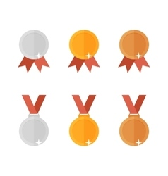 set of golden bronze and silver medals executed in vector image