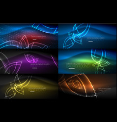 set of neon leaves abstract backgrounds vector image