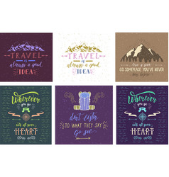 set of travel posters hand drawn vector image