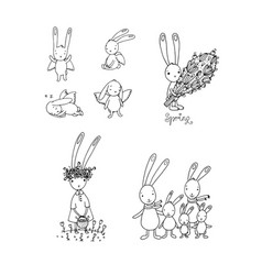 set with easter hares cute cartoon rabbits vector image