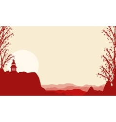 Silhouette of pavilion and bamboo on cliff vector