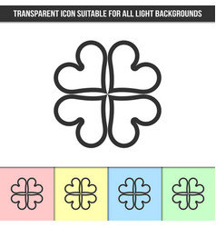 Simple outline transparent clover icon vector