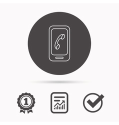 Smartphone icon Cellphone with touchscreen sign vector image