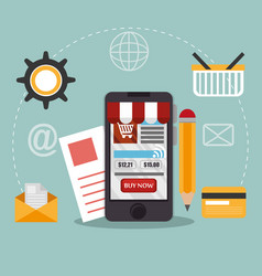 smartphone with electronic commerce icons vector image