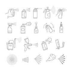Sprays isolated icons aerosol and airbrush vector