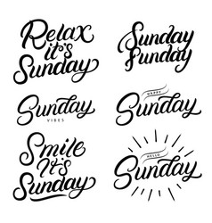 Sunday set hand written lettering quotes vector