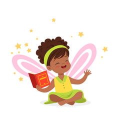 Sweet african little girl with a book dreaming vector