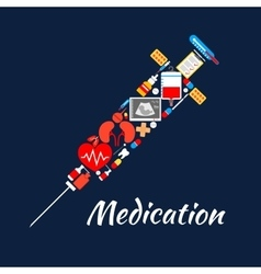 Syringe symbol of medical tools medications items vector image